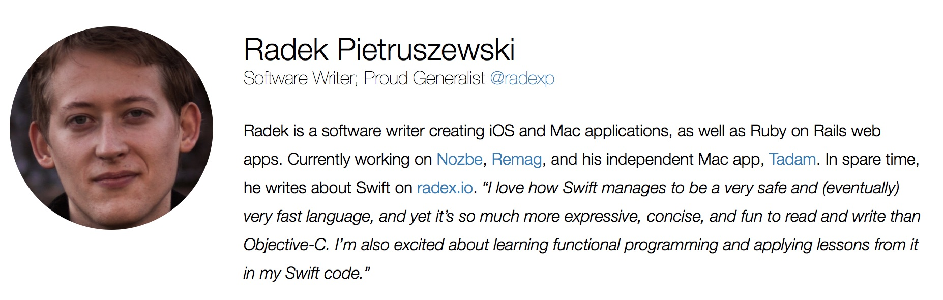 Radek on Swift Summit